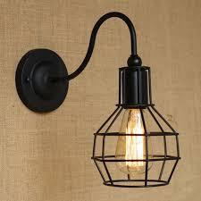 loft industrial iron cage. Retro Vintage Loft Industrial Iron Cage Edison Wall Lamp Fixture Lighting Black L