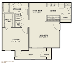 bedroom floor plan. The Quarters - One Bedroom / Bath Apartment, 801 Sq. Ft. Floor Plan