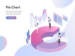 Pie Chart Making Website Landing Page Template Of Pie Chart Isometric Illustration