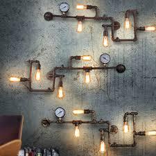 new industrial steampunk wall lamp retro light rustic vintage loft pipe lighting ebay antique industrial lighting fixtures