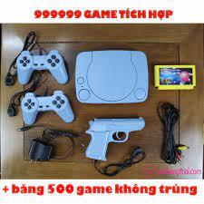 Máy chơi game 4 nút cổ điển, có súng bắn vịt - Tích hợp sẵn 999999 trò, kèm  băng 500 game không trùng.