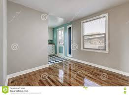 Empty Kitchen Wall Empty Beige Room With Hardwood Floor In Old Empty House Stock
