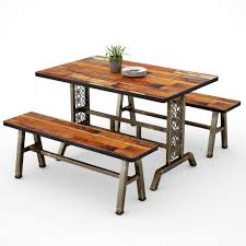 Tribesigns Dining Table With Two Benches 3 Pieces Dining Set