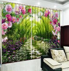 Großhandel Gewohnheit 3d Vorhang Schöne Blume Tunnel Wohnzimmer