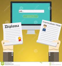 flat design vector illustration concept for online job search on  flat design vector illustration concept for online job search on computer concepts of hands holding diploma and cv resume