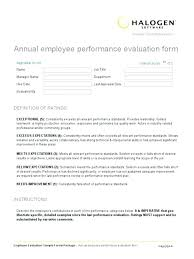 Employee Performance Assessment Examples Appraisal Template Evaluation Form Performance Annual Sample