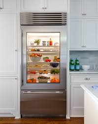 chic kitchen boasts cabinets surrounding a glass front refrigerator and freezer drawer