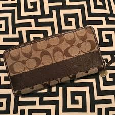 Coach Legacy Signature Stripe Brown Zip Wallet