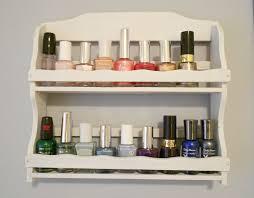 white wooden nail polish rack