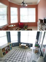 Office playroom Shared Living Room Home Office Play Room Before And After House Mix Blog Home Office And Play Area In One House Mix