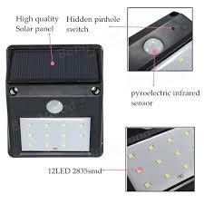 12 LED Solar Powered PIR Motion Sensor Light Outdoor Garden Solar Led Wall Lights