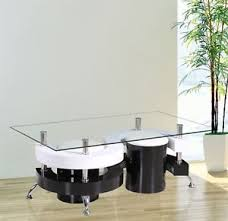 Gr8 Home S Shape Rectangular Glass Dining Coffee Table And 2 Stools ...
