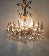 multi arm spider crystal aged brass chandelier professionally rewired 1 of 7