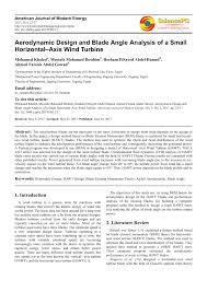 Wind Turbine Aerofoil Design Pdf Aerodynamic Design And Blade Angle Analysis Of A Small