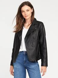 faux leather moto jacket for women