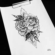 эскиз татуировки цветы черно белые 44899 тату салон дом элит тату