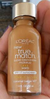 makeup spf 17 powder review photos swatches super blendable l oreal true match foundation demo review acne e skin
