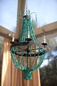 beaded turquoise chandelier outdoor reception decor
