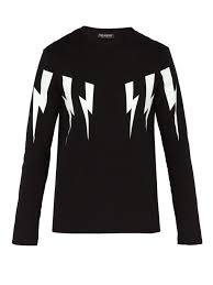 neil barrett lightning bolt cotton blend t shirt
