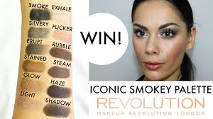 iconic smokey palette swatches tutorial giveaway makeup revolution you