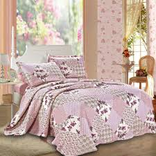 details about patchwork quilt bedspread single double king size bedding set pink quilted throw