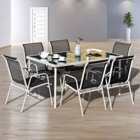 outdoor dining table and chairs. Product Image Gymax 7PC Patio Table Chairs Furniture Set Outdoor Garden Dining  Glass Top Outdoor Dining Table And Chairs