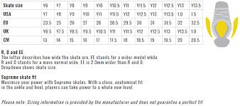 Bauer Supreme Size Chart Bauer Supreme S27 Yth Hockey Skates