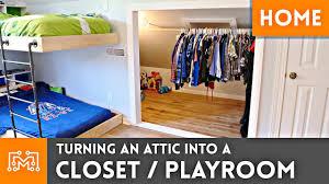 turning an attic into a closet playroom