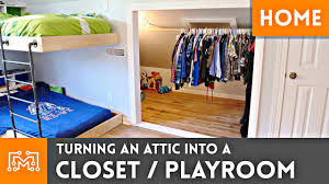 turning an attic into a closet playroom