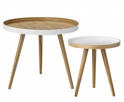 bloomingville set of 2 round scandinavian coffee tables bamboo bloomingville