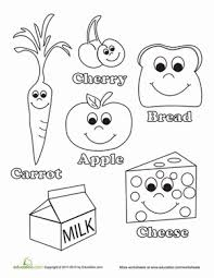 Small Picture Healthy Food Worksheet Educationcom