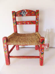 painted mexican furnitureVintage Pair Child Mexican FOLK ART WOOD CHAIR Hand Painted Toile