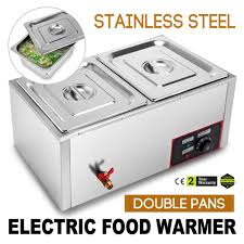 2 pans commercial countertop heated food display case warmer with sliding doors
