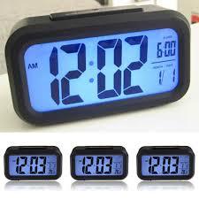 desktop digital alarm clock lcd display blue backlight snooze battery operated