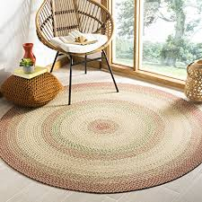 safavieh braided collection brd303a hand woven rust and multi round area rug 6