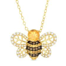 bee pendant smoky quartz and lab created white sapphire ble in sterling silver scott bailey bee pendant