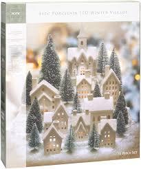 Winter Pictures With Led Lights Mark Feldstein Winter Village Led Tea Light 31 Piece Porcelain Tabletop Christmas Figurine Boxed Set