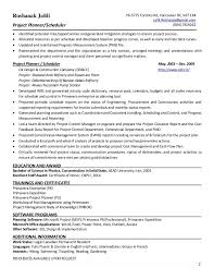 project scheduler resumes project planner resume resume sample