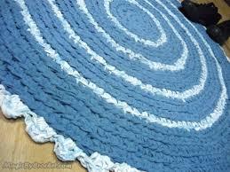 blue rug rag rug crochet rug round rug 90 cm bathroom rug