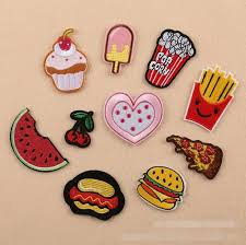 new iron on patches diy embroidered patch sticker for clothing clothes fabric badges sewing popcorn icecream cherry design sewing iron on patch with