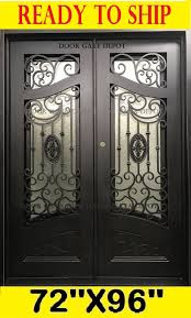details about wrought iron front entry door with tempered glass 72 x96 dgd1080bp