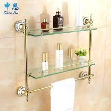 double shelf towel rack gold towel rack perfect gilding bathroom shelf toilet glass shelf