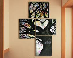 tree painting on canvas abstract contemporary modern art engagement gift wall decor unique wedding gift 26 x 18  on multiple canvas wall art diy with extra large tree painting on canvas of heart tree of life