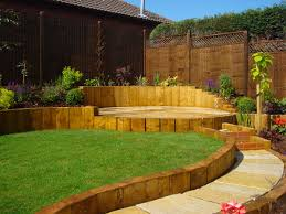 Small Picture This sloped garden has curved landscaping with the slope held back