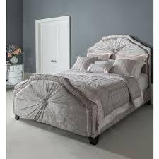 kingsize aurora grey fabric crushed velvet bed french furniture