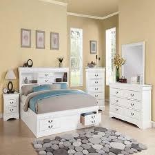 New Modern White Queen Bedroom Set Bed W/ Storage Mirror Dresser Nightstand | eBay