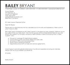 Sales Resume Cover Letter Sales Support Cover Letter Sample Cover Letter Templates Examples