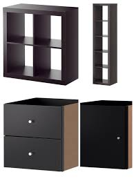 You need from IKEA: Expedit 2x2 & 1x5 shelves and Expedit drawers ...