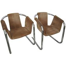 chrome furniture. u002780s modern tubular chrome suede sling arm cantilever lounge chairs 1980s for sale at 1stdibs furniture