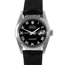 mens pre owned rolex watches for swiss wrist pre owned rolex mens datejust watch stainless steel black r dial smooth bezel